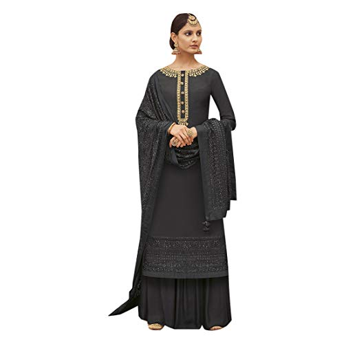 - Pure Silk Punjabi Pakistani Formal Wedding Function Garara Ready to Wear Salwar Kameez Palazzo Muslim 7425 (8, Black)