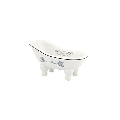 (Ceramic Clawfoot Bathtub Bath Soap Dish or Ring Holder - Le Bain 1886 )