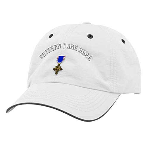 Custom Richardson Running Cap Distinguished Service Cross Embroidery Veteran Polyester Hat Hook & Loop - White/Charcoal, Personalized Text Here