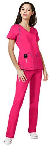 - WonderWink Seven Flex Women's Medical Uniforms Scrub Set Bundle- 6702 Crossover Mock Wrap Scrub Top & 5702 Cargo Scrub Pants & MS Badge Reel (Hot Pink - XXX-Large/XXL Petite)