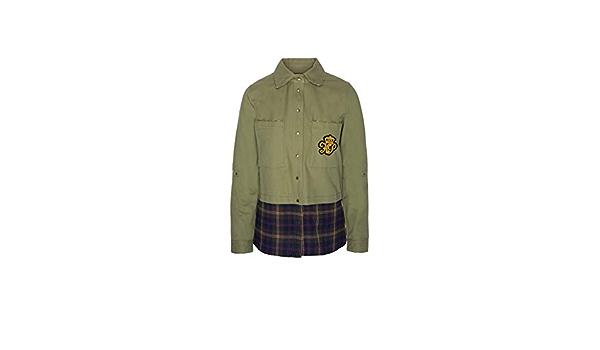 Highly Preppy Camisa Verde Kaki con Parte Inferior con Print ...