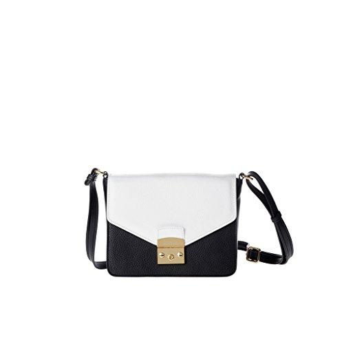 Schultertasche für Damen Made in Italy aus echtem Leder mit Träger und Überschlag von DUDU Schwarz/Weiß