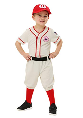 A League of Their Own Toddler Jimmy Costume 2T Cream,red]()
