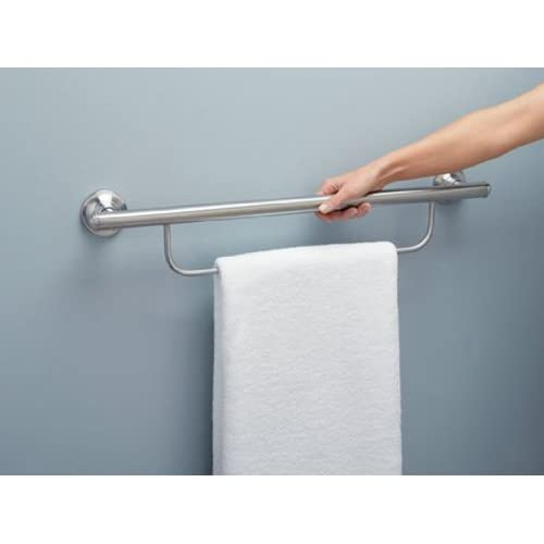 30%OFF Moen LR2350DBN Bathroom Safety 24-Inch Grab Bar with Towel Bar, Brushed Nickel