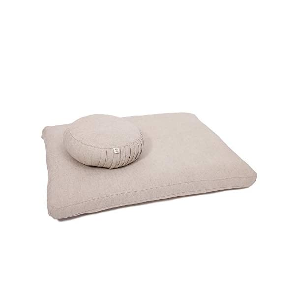 Home of Wool/Wool Meditation Cushions/Zafu, Zabuton or Set/Cotton and Linen Cover / 100% Pure Wool Filling/OEKO-TEX Certified Materials/Non - Toxic/Natural Color 1