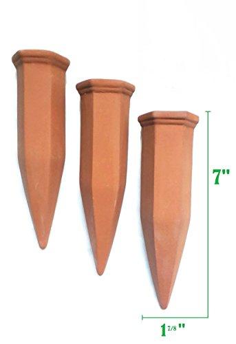 Terracotta Plant Watering Stakes - 6 Pack Set - Self Irrigation Watering System - Vacation Plant Waterer - Garden Watering Spikes