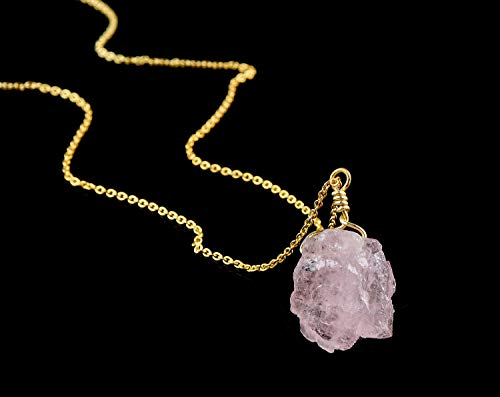 Natural Raw Morganite Crystal Pendant Necklace, Gift For Mom, Rough Morganite, Rough Morganite Rock, 14K Gold Fill Chain, Natural Morganite Gemstone, Raw Gemstone Necklace, Dainty Jewelry