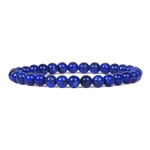 Lapis Blue Check - Justinstones Natural A Grade Lapis Lazuli Gemstone 6mm Round Beads Stretch Bracelet 6.5