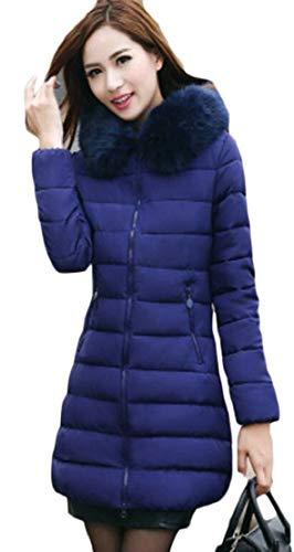 Down Hooded Fur Women's Blue Long Faux Puffer Down Royal Coat Winter Warm TTYLLMAO Parka Jacket qZBAT