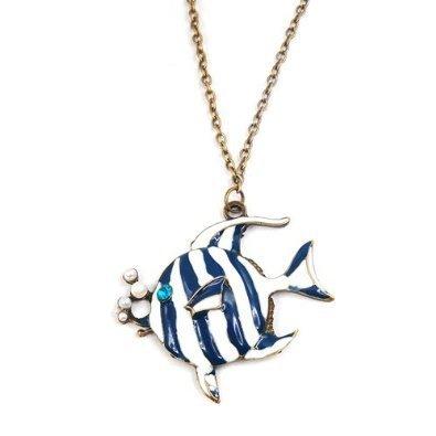 Shop4Jewelry365(TM) Bronze Chain Stripes Bubbling Angelfish Swim Tropical Fish Pendant - Bronze Pendant White Stripes