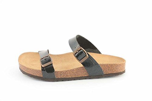 Le Clare Women's Cork Sandal with Anatomical Footbed -Color Black HnCef