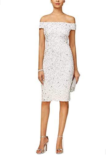 - Adrianna Papell Women's Sleeveless Beaded Cocktail Dress (Ivory, 12)
