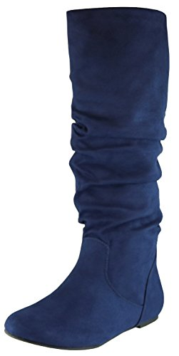 Knee Flat Navy Toe Cambridge Boot Women's Round High Select Imsu Slouchy Aw4nU6
