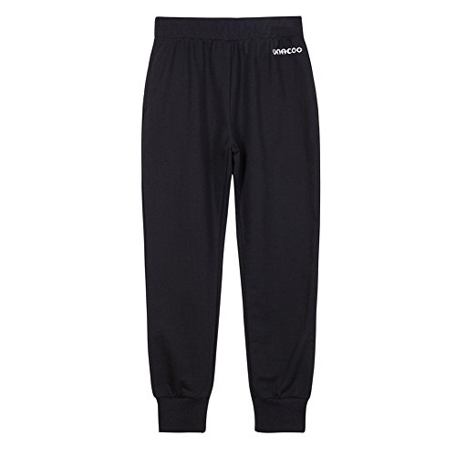 Girls Terry French Pants - UNACOO Girls Soft French Terry Pull-on Jogger Pants with 2 Pockets (Black, XL(11-12T))