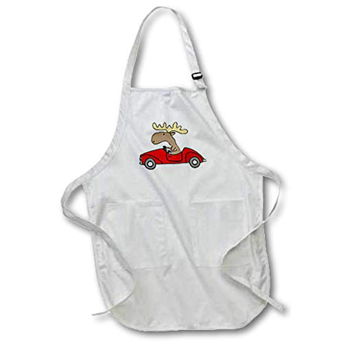 3dRose All Smiles Art - Funny - Funny Cute Moose Driving Red Convertible Car Cartoon - Full Length Apron with Pockets 22w x 30l (apr_317711_1) ()