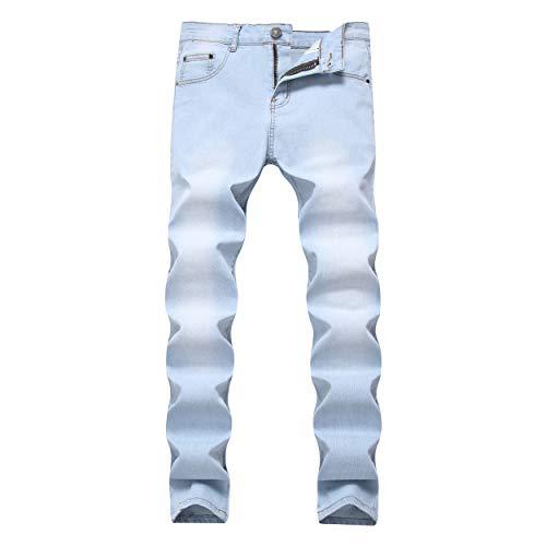 Leward Men's Blue Skinny Jeans Stretch Washed Slim Fit Straight Basic Denim Pencil Pants (Light Blue, 36)