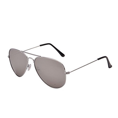 Retro Mirror Aviator Sunglasses Flash Tinted Lens Eyeglasses for Women Men UV400 (Silver/Silver)