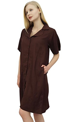 tasche dentellato collare Shirt Marrone con Sleepshirt Bimba le Nighty femminile E8AxPq