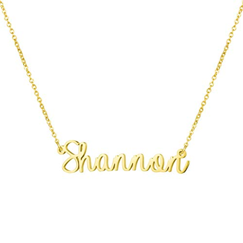 (Awegift Personalized Name Necklace 18K Gold Plated New Mom Bridesmaid Gift Jewelry for Shannon )