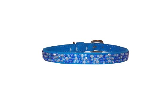 With Love to Christian Ultrasuede Straight Dog Collar, Small Size 10, Blue with Crystals