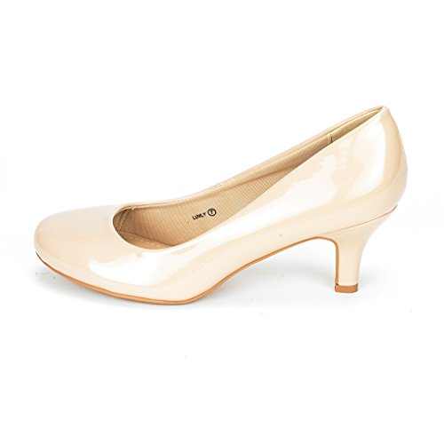 DREAM PAIRS Women's LUVLY Nude Pat Bridal Wedding Low Heel Pump Shoes - 6.5 M - Round Nude