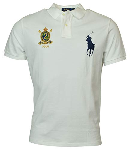 Polo Ralph Lauren Mens Custom Slim Fit Big Pony Crest Polo Shirt (Small, White)