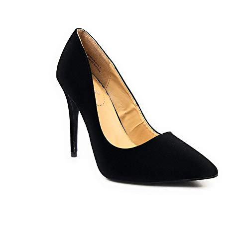 Anne Michelle Women's Plain Pointy-Toe Dress Heel Pump,BlkNub, 7.0 B (M) US