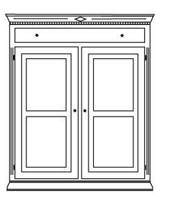 Gradel Isabella Vertiko mit 1 Schublade, 2 Türen und 2 Einlegeböden in Fichte massiv - natur gewachst