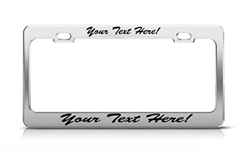 Custom CHROME Metal Script High Quality License Plate Frame