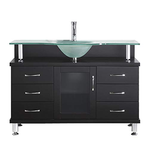 Virtu USA Vincente 48 inch Single Sink Bathroom Vanity Set in Espresso w/Integrated Round Sink, Frosted Tempered Glass Countertop, No Faucet, No Mirror - MS-48-FG-ES
