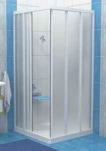 Ravak SRV3-80 blanco/diseño imitación tapicería para puerta corredera por esquina de 800 x 800 mm: Amazon.es: Hogar