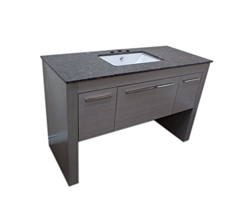 Bellaterra Home Single Sink Gray and Tan Brown Vanity, 55.3