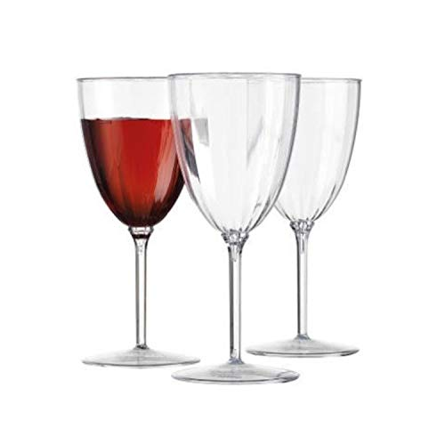 (CLASSIC STEMWARE DISPOSABLE PLASTIC WINE GLASSES | Reusable Wine Cups |  for Upscale Wedding and Dining  | Includes 12)