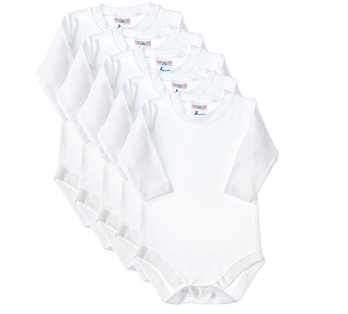 Baby Jay Long Sleeve Onesies 5 Pack - White Ultra Soft Cotton Undershirt - Boys and Girls Baby and Toddler Bodysuit