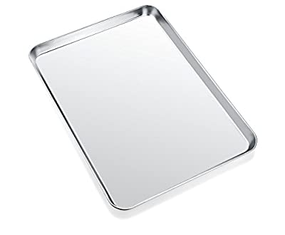 Baking Sheet, Zacfton Cookie Sheet Stainless Steel Toaster Oven Tray Pan Rectangle Size 12 x 10 x 1 inch, Non Toxic & Healthy,Superior Mirror Finish & Easy Clean, Dishwasher Safe