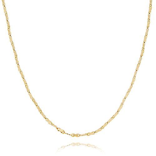 Solid Gold Flat Bar Bead Link Chain Necklace Made in Italy of 14K Yellow Gold 1.5mm Wide 24