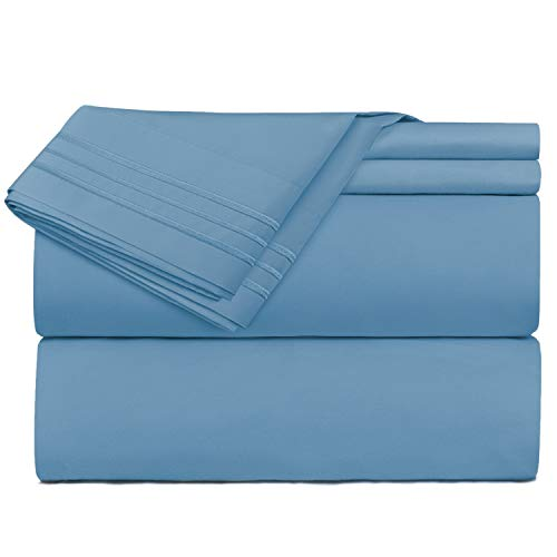 Nestl Bedding 4 Piece Sheet Set - 1800 Deep Pocket Bed Sheet Set - Hotel Luxury Double Brushed Microfiber Sheets - Deep Pocket Fitted Sheet, Flat Sheet, Pillow Cases, Queen - Blue Heaven