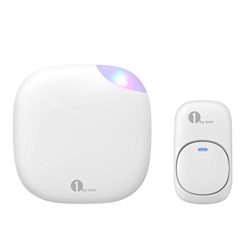 1byone Easy Chime Plug-in Wireless Doorbell Operating at 500 feet, CD Quality Sound and LED Flash, 6 Levels Volume, 36 Chimes, White