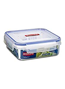 Plastic Food Container Clear/Blue 700 ml