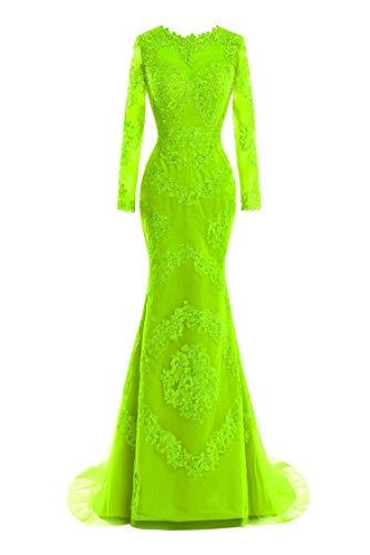 (Women's Lace Mermaid Long Sleeve Prom Dress Prom Dress,8,Limegreen)