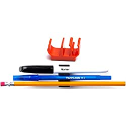 (10 pk) Orange Self Adhesive pencil pen and marker holder adhesive clip - Best mount organizer to stick on the wall, table, shelf, drawer, cubicle - Great for job, student, mom, dad, home, etc.
