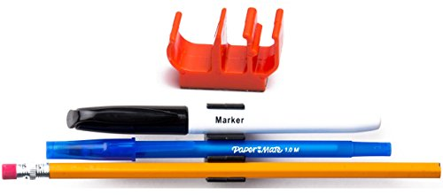 (50 pk) Orange colored Magnetic pencil pen and slim dry erase holder clip - Best for fridge, locker, board, cubicle, whiteboard, refrigerator, memo pad- Great for kids, girls, boys, teacher, - Orange Map Outlets