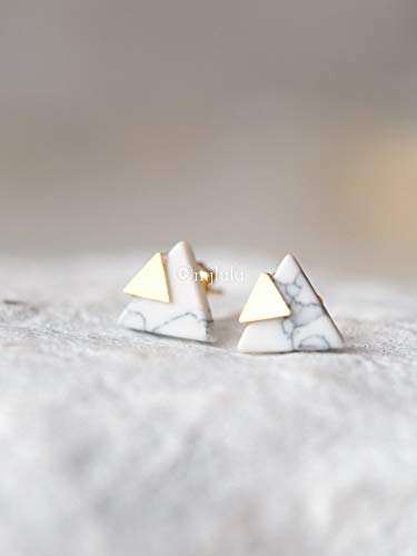 Tiny White Simulated Howlite Chevron Triangle Geometric Marble Stud Earrings