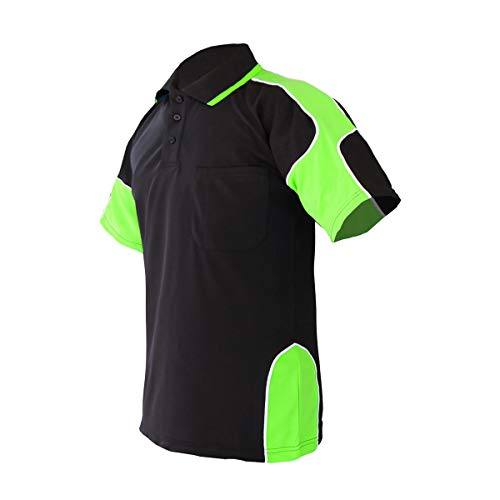 LANTERN FISH Men's Upgrade Work Polo Shirt Collar Color Block T-Shirt XXL Black/Lime
