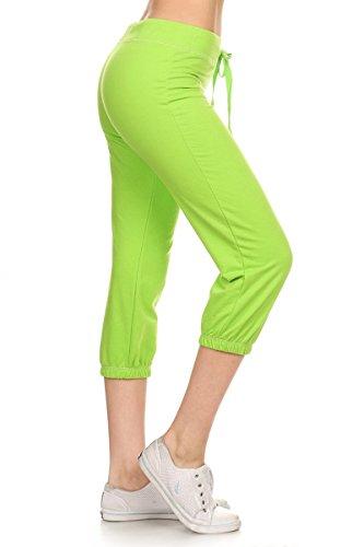 Lime Green Capri Pants (Leggings Depot Women's Cotton French Terry Drawstring Jersey Athletic Capri-Yoga Activewear Lounge Pants (Medium, Lime))