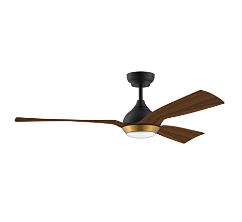 reiga 52-Inch Downrod Mount Ceiling Fan with Light & Remote, 3 Oak Grain Color Blade Suit for Indoor/Outdoor,6-speed, 3 Color Temperature Switch