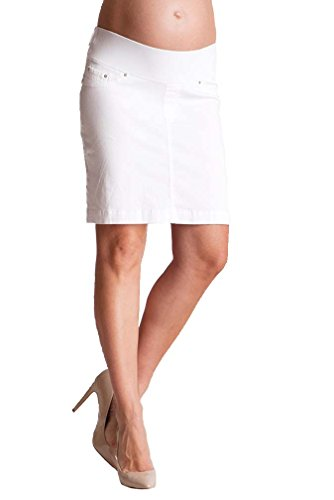 Seraphine Blakely Slim Fit Underbump Denim Maternity Skirt - White - 6