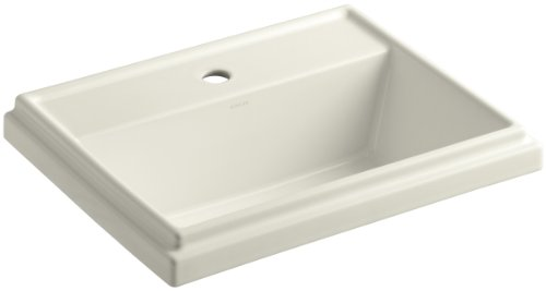 KOHLER K-2991-1-96 Tresham Rectangle Self-Rimming Bathroom Sink with Single-Hole Faucet Drilling, Biscuit