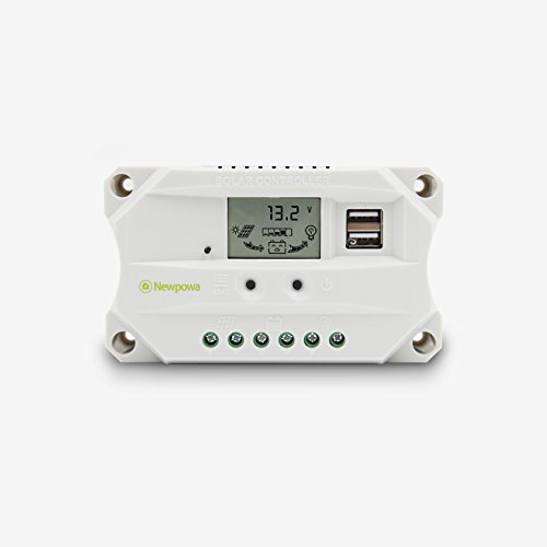 Newpowa 10A Solar Charger Controller Solar Panel Battery Intelligent Regulator with USB Port Display 12V/24V (10A)
