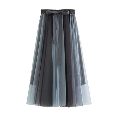 - Zlolia Contrast Color Patchwork Tulle Tutu for Women Strap Belt Chiffon Stretch High Waist Light Swing Dress Blue